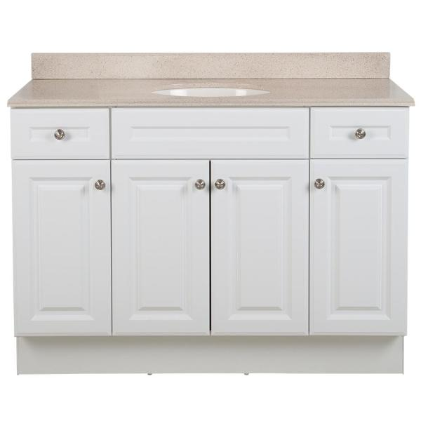 Glensford 49 in. W x 22 in. D Bathroom Vanity in White with Colorpoint Vanity Top in Maui with White Sink