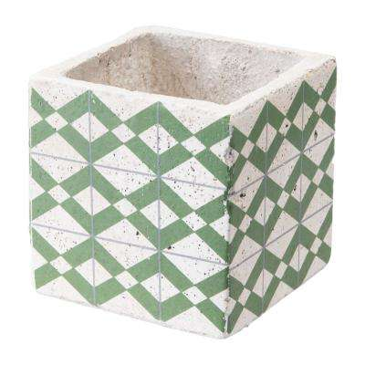 Cement Tribal 4.9 in. W x 4.9 in. H Green and Yellow Ceramic Planter