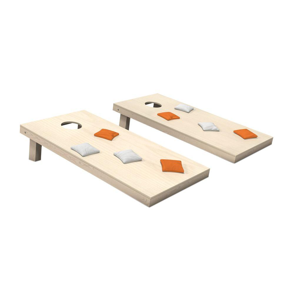 Wooden Cornhole Toss Game Set with Orange and White Bags