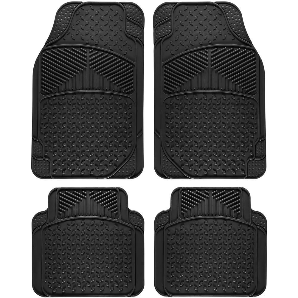 Universal Fit Black 4-Piece Full Set Eagle Heavy Duty Rubber Floor Mat