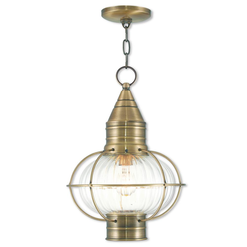 Newburyport Brass 1-Light Antique Outdoor Hanging Lantern