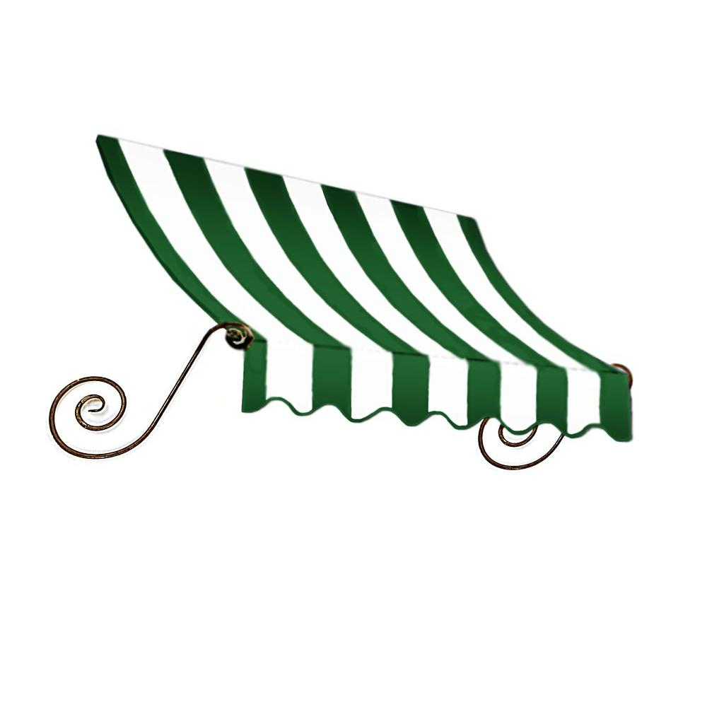 AWNTECH 8 ft. Charleston Window Awning (56 in. H x 36 in. D) in Forest/White Stripe