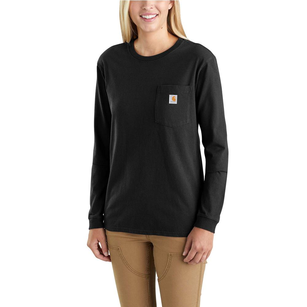 5a8bab486a29 Women's Extra-Small Black Cotton Workwear Pocket Long Sleeve T-Shirt