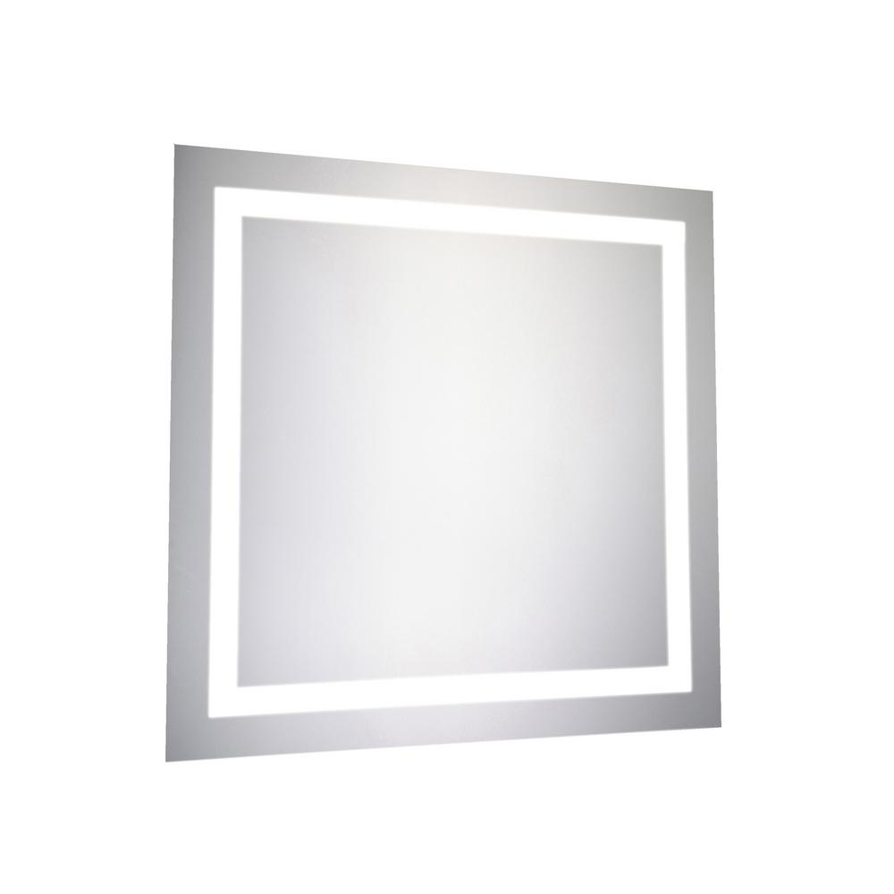 Klein 28 in. x 28 in. LED Wall Mirror with Square Steel Frame Color ...