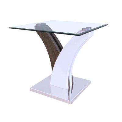 Clear Glass, White and Walnut Forest Sofa Table
