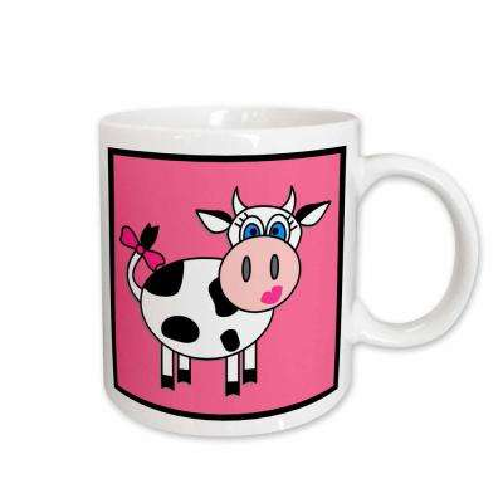 Janna Salak Designs Farm Animals 11 oz. White Ceramic Happy Cow Girl Mug