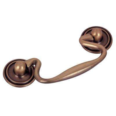 Traditional 3 in. (76.2 mm) Antique Copper Cabinet Bail pull
