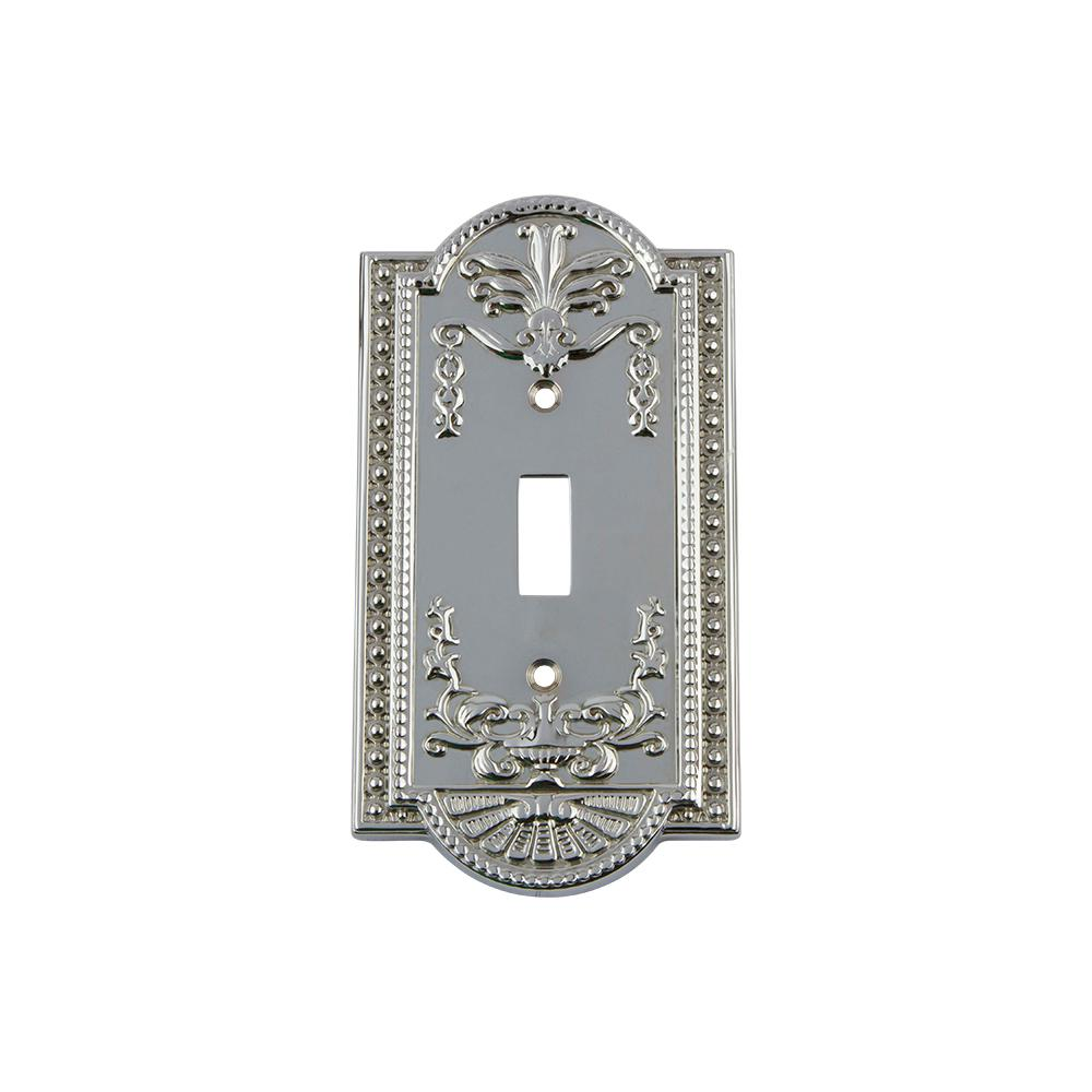 Meadows Switch Plate with Single Toggle in Bright Chrome
