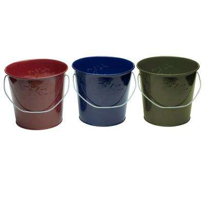 17 oz. Wax Bucket Candle Lavish Woodland Navy Blue, Army Green and Burgundy (3-Pack)
