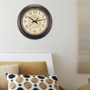 La Crosse Technology 14 inch H Round Brown Plastic Analog Wall Clock by La Crosse Technology