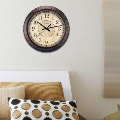 14 in. H Round Brown Plastic Analog Wall Clock