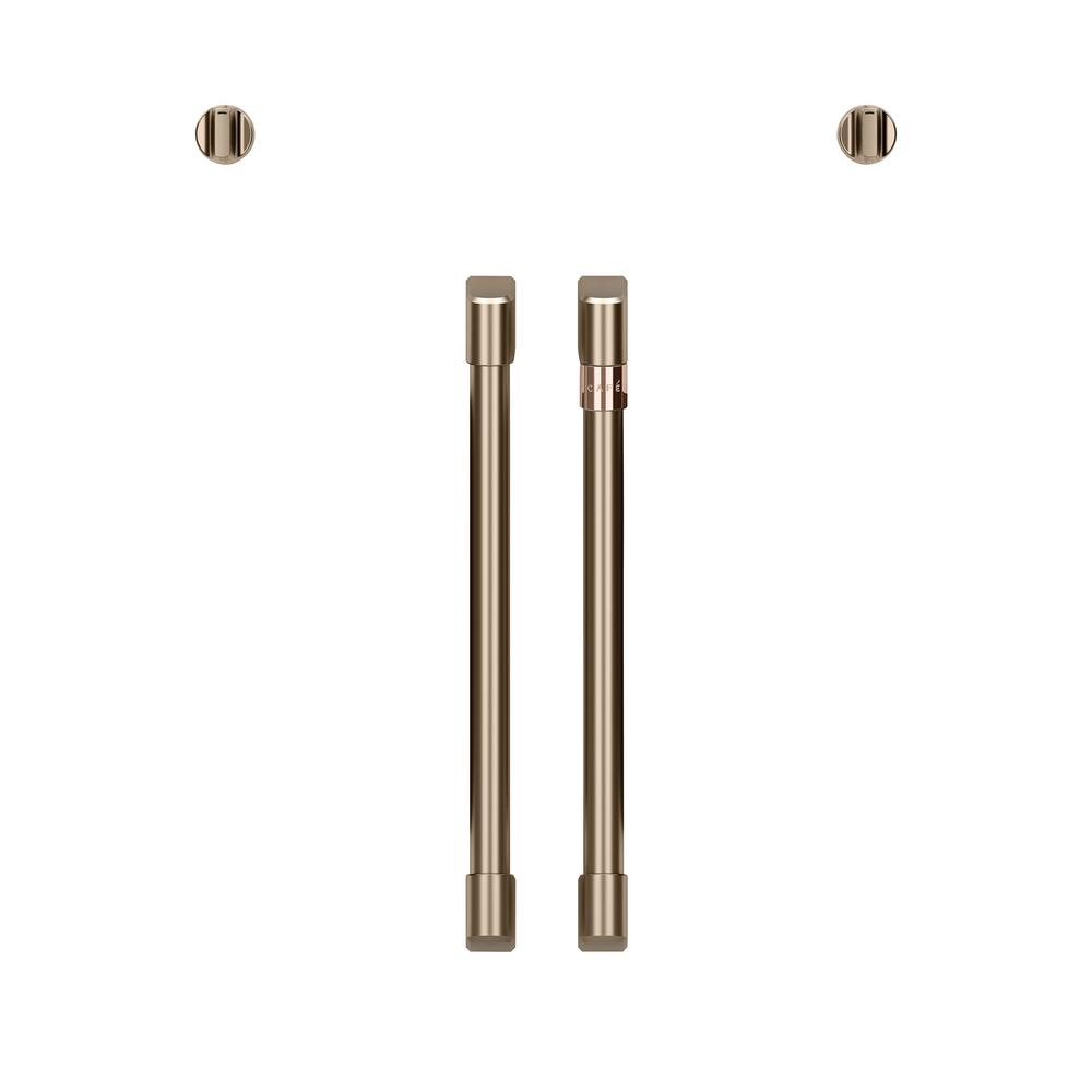 French Door Wall Oven Handle and Knob Kit in Brushed Bronze