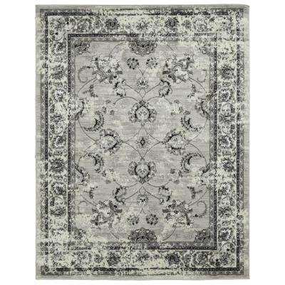 Royal Collection Light Gray Distressed Oriental Floral Design 7 ft. 10 in. x 9 ft. 10 in. Area Rug