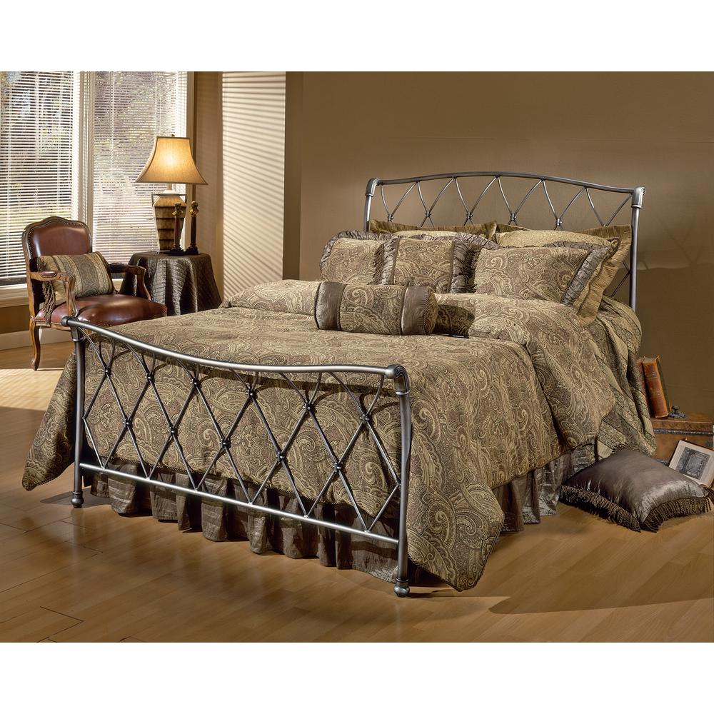 Hilale Furniture Silverton Brushed Silver Full Sleigh Bed