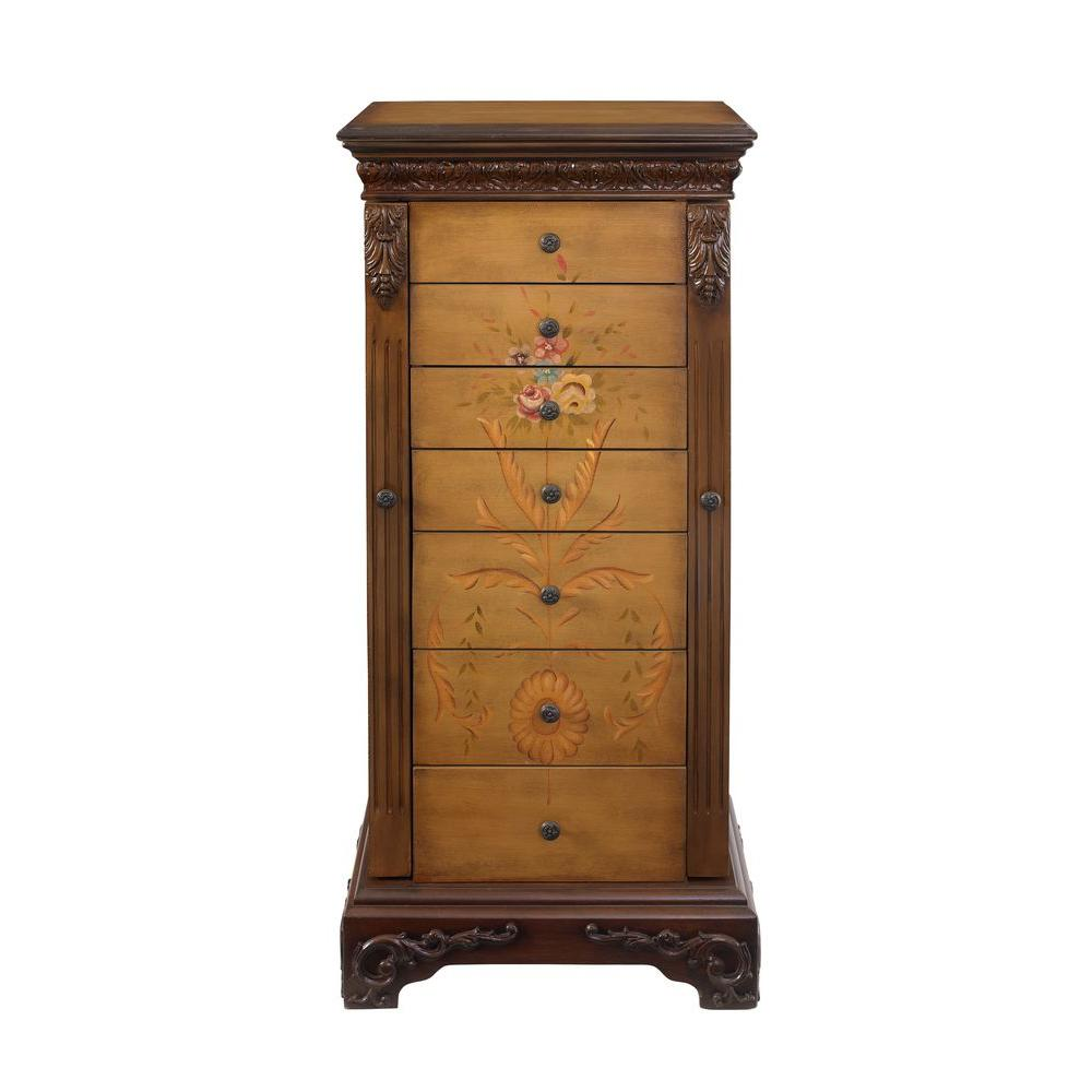 powell masterpiece antique parchment hand painted jewelry armoire 582 314 the home depot. Black Bedroom Furniture Sets. Home Design Ideas