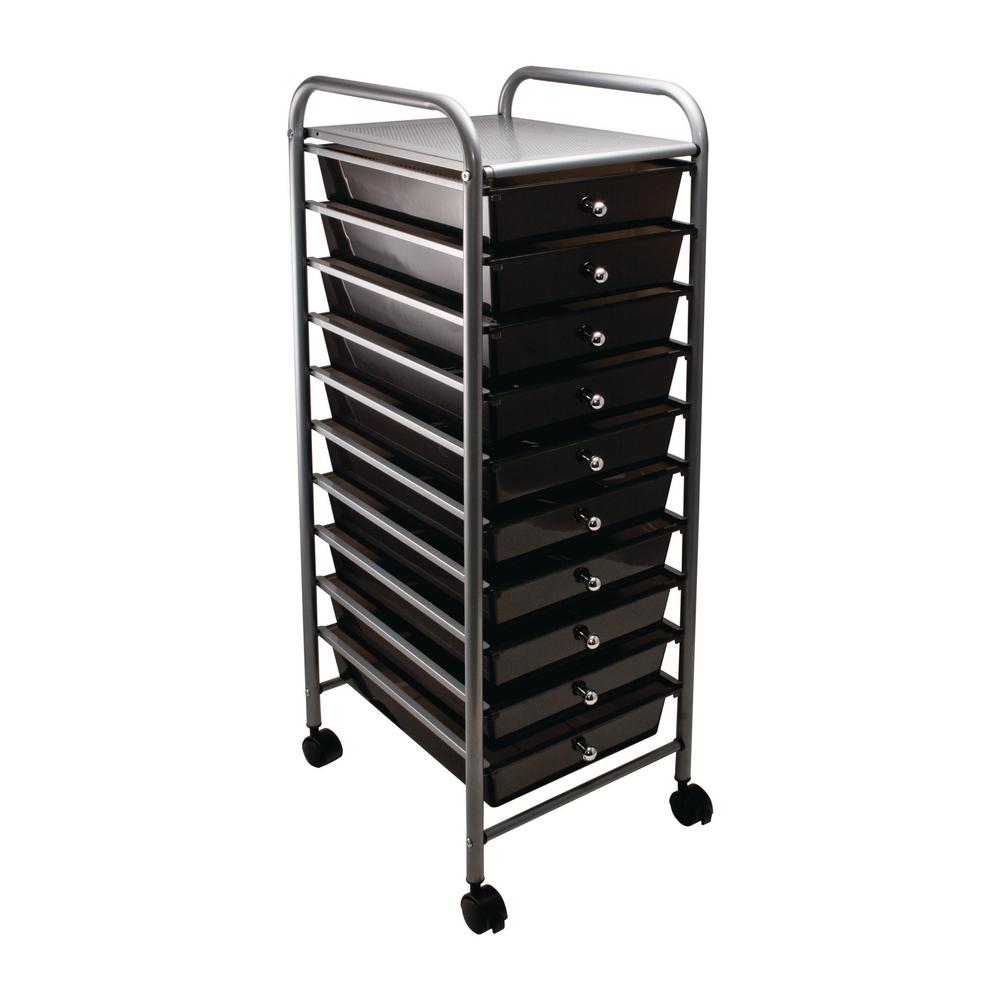 10-Drawer Steel File Organizer Cart in Smoke