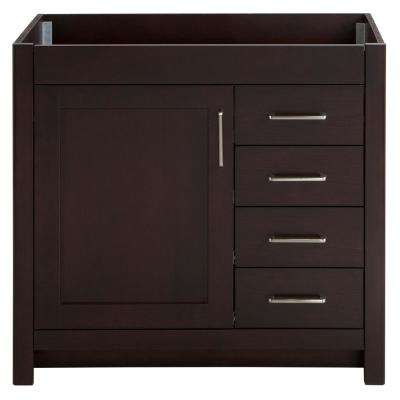 Westcourt 36 in. W x 21.69 in. D x 34.25 in. H Bath Vanity Cabinet Only in Chocolate