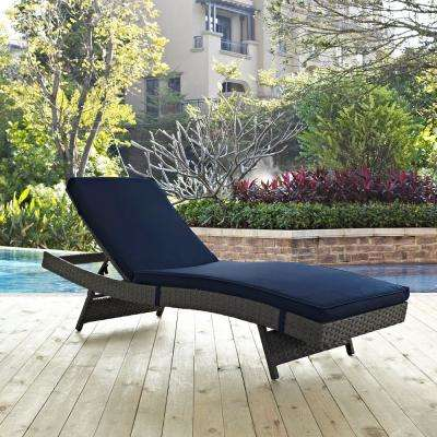 Sojourn Wicker Outdoor Patio Chaise Lounge with Sunbrella Canvas Navy Cushions