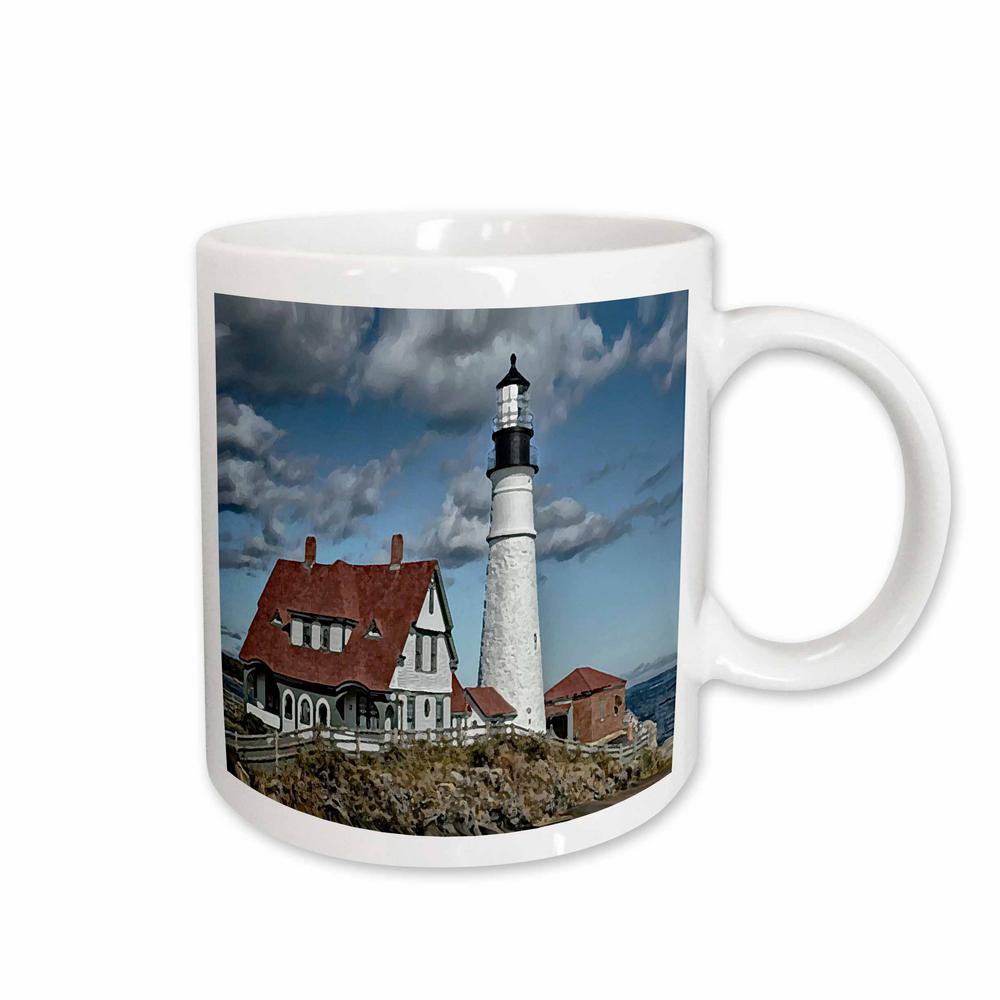 11 oz. White Ceramic Portland Light House Mug