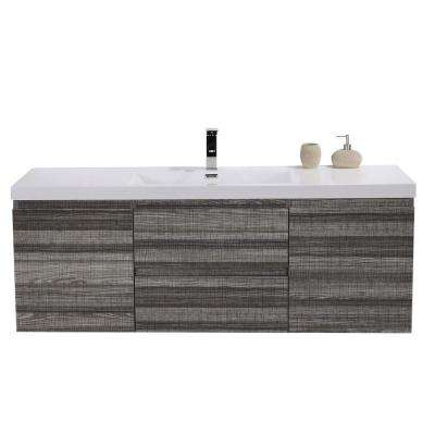 MOB 59 in. W Vanity in High Gloss Ash Grey with Reinforced Acrylic Vanity Top in White with White Basin