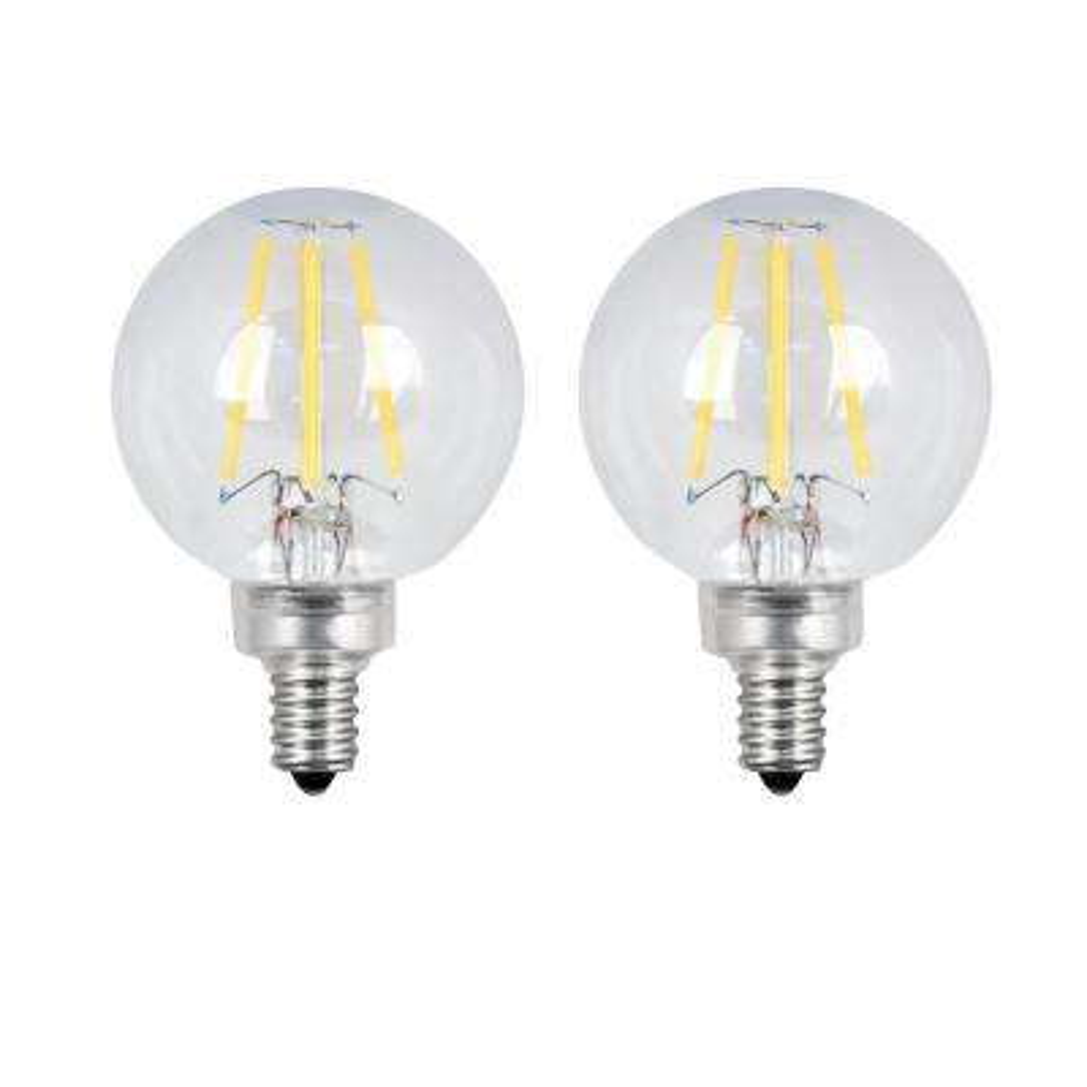 60-Watt Equivalent G16.5 Candelabra Dimmable Filament ENERGY STAR Clear Glass LED Light Bulb, Daylight (2-Pack)
