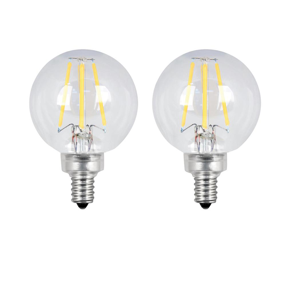 Feit Electric 60-Watt Equivalent G16.5 Candelabra Dimmable Filament ENERGY STAR Clear Glass LED Light Bulb, Daylight (2-Pack)