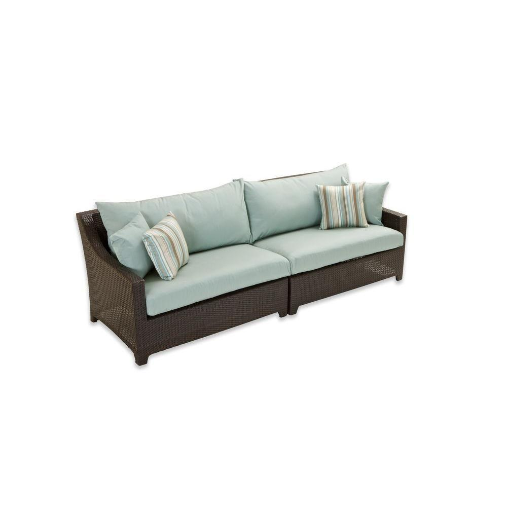 Rst Brands Deco Patio Sofa With Bliss Blue Cushions