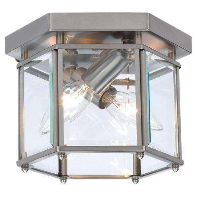 Bretton 8 in. W 2-Light Brushed Nickel Flushmount with Clear Beveled Glass Panels