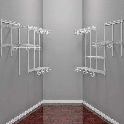 96 in. D x 96 in. W x 84 in H White Fixed Wire Wall Mounted Closet System