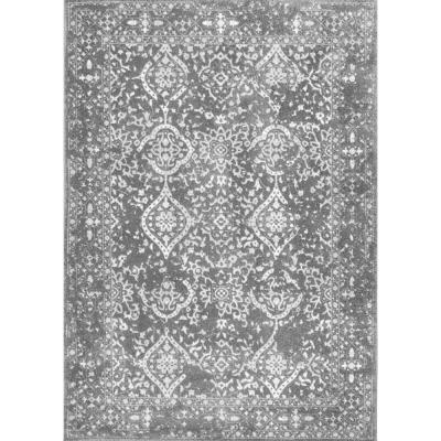 Odell Distressed Persian Silver 4 ft. x 6 ft. Oval Rug