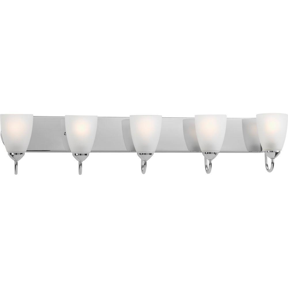 Progress lighting gather 36 in 5 light polished chrome - Polished chrome bathroom lighting ...