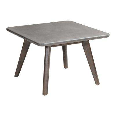 Daughter Wood Outdoor Patio Coffee Table in Cement and Natural