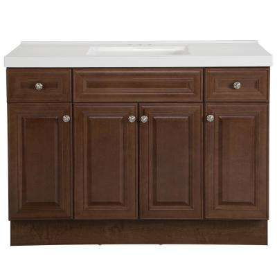 Glensford 49 in. W x 22 in. D Bathroom Vanity in Butterscotch with Cultured Marble Vanity Top in White with White Sink