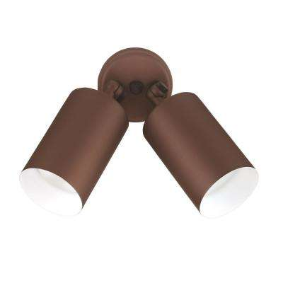 Double Bullet 75-Watt 2-Light Bronze Outdoor Wall Mount Cylinder Light