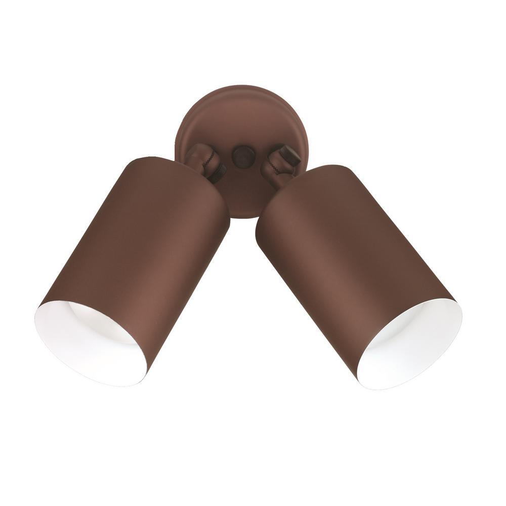 Double Bullet 75-Watt 2-Light Bronze Outdoor Wall Lantern Sconce