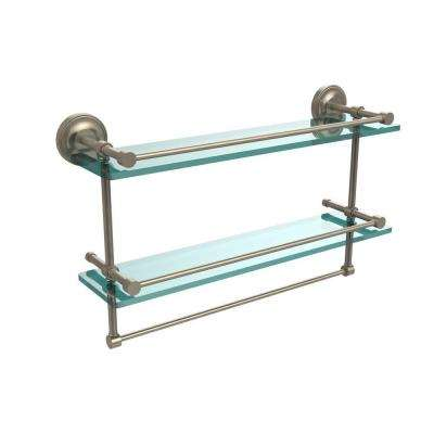 22 in. L  x 12 in. H  x 5 in. W 2-Tier Clear Glass Bathroom Shelf with Towel Bar in Antique Pewter