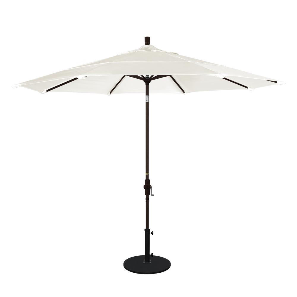 11 ft. Aluminum Collar Tilt Double Vented Patio Umbrella in Canvas