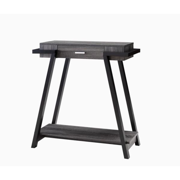 34 in. H Distressed Grey and Black Finish Two-Tone Console Table With Drawer and Shelf