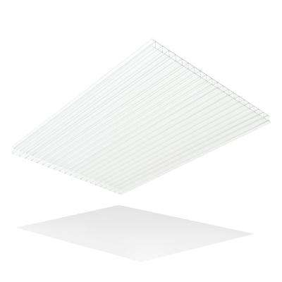 Thermoclear 48 in. x 96 in. x 1/4 in. Clear Hammered Glass Multiwall Polycarbonate Sheet