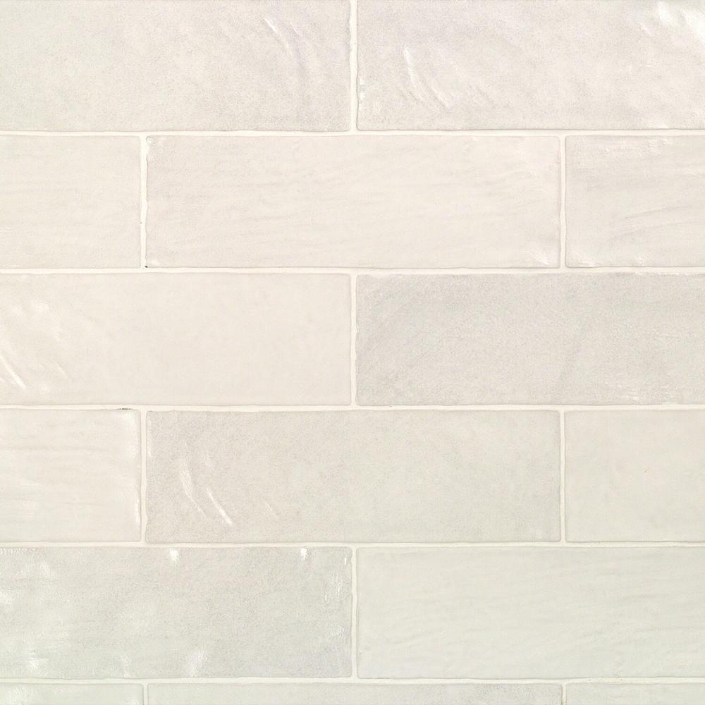 Amagansett White 2 in. x 8 in. 9mm Satin Ceramic Wall Tile (10.76 sq. ft. / box)