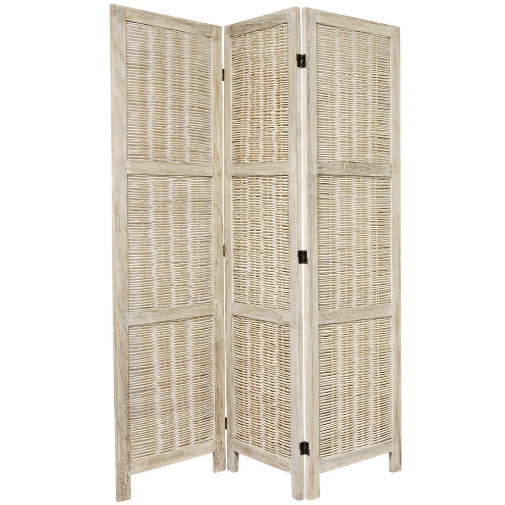 6 ft. Burnt White Matchstick 3-Panel Room Divider