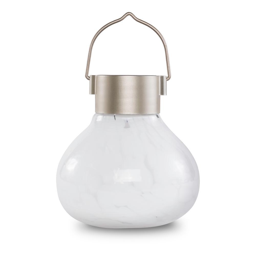 Outdoor 6.5 in. Solar Tea White Integrated LED Handblown Glass Table Top Lantern Light