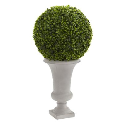 28 in. High Indoor/Outdoor Boxwood Ball Topiary Artificial Plant in Urn
