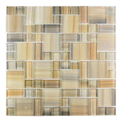 Handicraft Magic Desert Beige Versailles Mosaic 12 in. x 12 in. Glass Wall and Pool Tile (1.05 Sq. ft.)