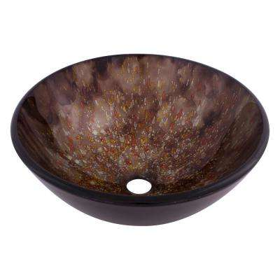 Distora Glass Vessel Sink in Hand Painted Brown