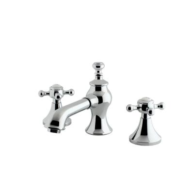 English Cross 8 in. Widespread 2-Handle Mid-Arc Bathroom Faucet in Chrome