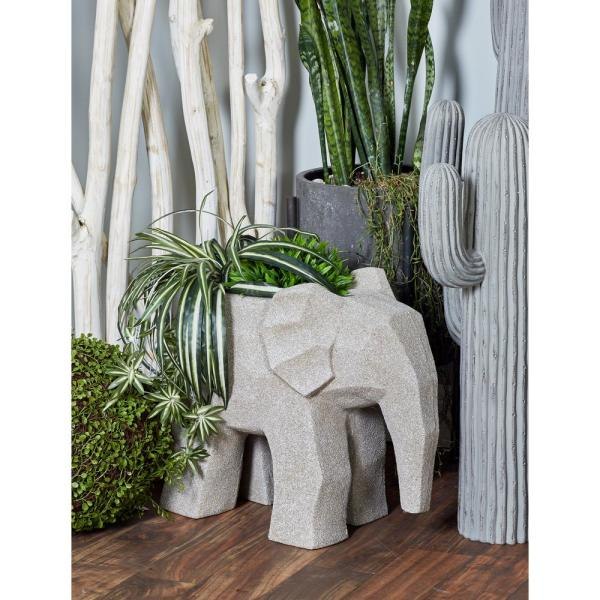 Litton Lane 19 in. x 10 in. Distressed Gray Fiber Clay Elephant Planter