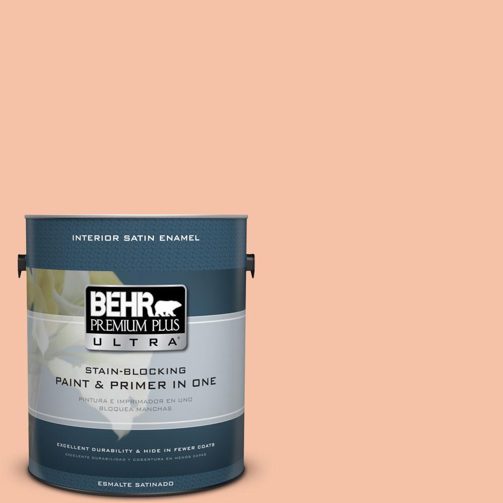 BEHR Premium Plus Ultra 1-gal. #230C-3 Pink Beach Satin Enamel Interior Paint