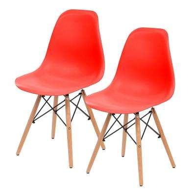 Red Plastic Shell Chair (Set of 2)