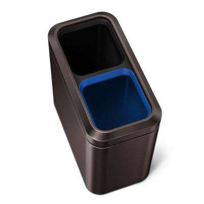 20-Liter Dark Bronze Stainless Steel Slim Open Top Recycling Trash Can
